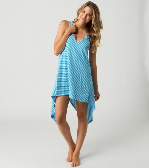 Surf O'Neill Rubix Coverup Dress.  100% Cotton yarn dye stripe dress.  Splicing detail on back and uneven hemline. - $19.99