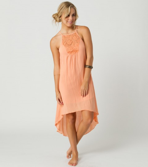 Surf O'Neill French Kiss Dress.  100% Rayon gauze.  High-low hem; high neck with crochet detail; metal logo badge. - $29.99