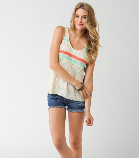 Surf O'Neill Ty Sweater Top.  100% Acrylic sweater knit tank.  Placed stripe detail and metal logo badge. - $23.99