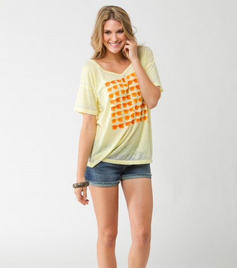 Surf O'Neill girls 50% cotton and 50% polyester burnout washed vacation tee. - $17.99