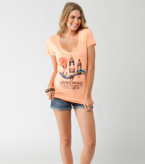 Surf O'Neill Surfer's Paradise Tee.  60% Cotton / 40% Polyester.  Heather slim V with neon inks. - $26.00