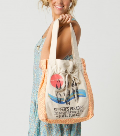 "Surf O'Neill Sunshine Tote.  Cotton canvas tote.  Allover print piecing and front screen print; encased elastic below top opening with self drawcord; cotton poplin lining. 15""H x 13.5""W x 3.5''D - $29.50"
