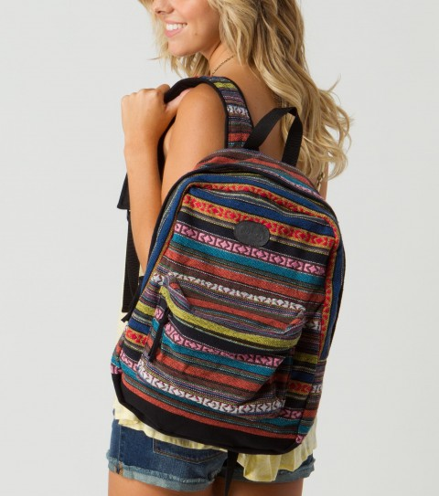 "Camp and Hike O'Neill Calder Backpack.  Cotton ethnic yarn dye fabric with solid canvas trim and faux leather logo embossed patch. 16.5""H x 12.25''W x 5""D - $35.99"