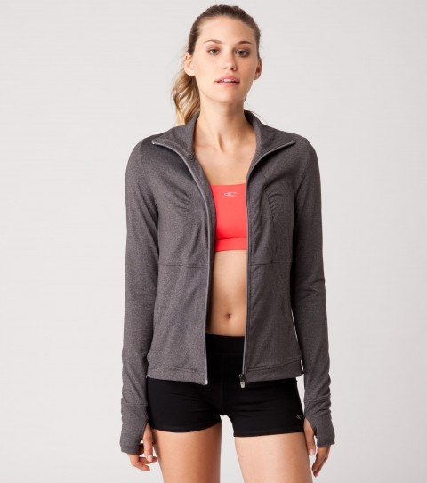Fitness O'Neill 365 Reflection Jacket.  Heathered bodywear.  Body conturing style lines.  Wicking technology pulls moisture from your skin; keeping you more comfortable and dry.  Functional cinch detail at back collar.  Thumbholes to keep sleeves in place.  Exterior stash pocket.  Reflective logos.  Head out for an early morning run or get some coffee in this versatile jacket. - $45.99