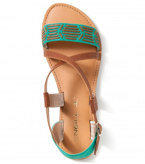 Entertainment O'Neill Lowers Sandals.  Faux leather color blocked upper with faux leather stitch detail; metal buckle closure; faux leather sock with DTM stitch; EVA midsole; sandle bottom outsole. - $22.99