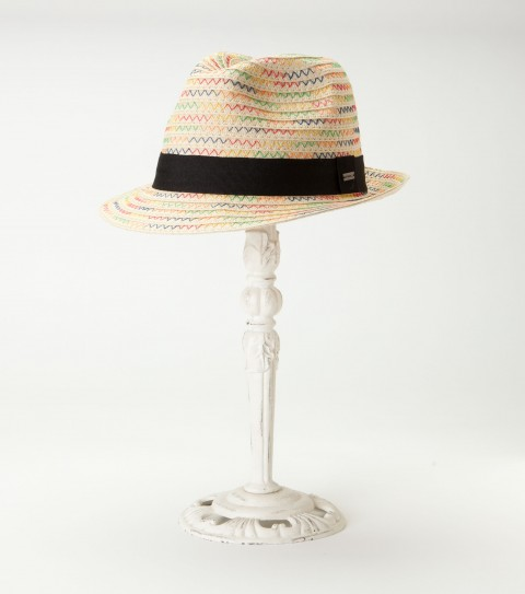 Surf O'Neill Palm Hat.  Paper straw fedora with pop color stitch; contrast grosgrain ribbon trim; metal logo charm. - $25.99