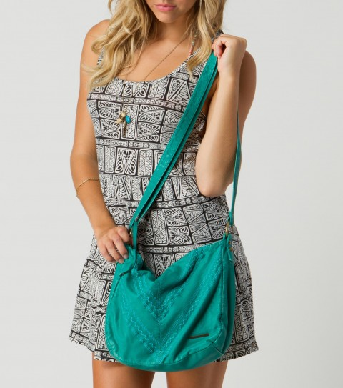"Entertainment O'Neill Stone Purse.  Washed faux leather bag; cross body adjustable strap; zipper closure at main compartment; cotton poplin lining; novelty stitch detail at front; metal logo strip.7""H x 10.5""W x 4""D - $36.99"