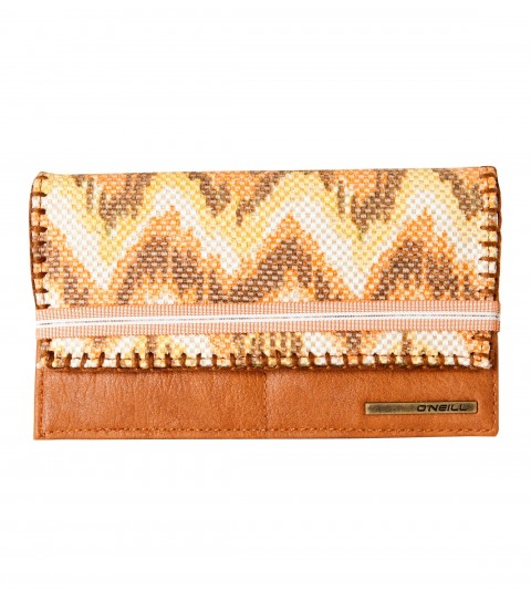 "Entertainment O'Neill Savannah Wallet.  Ethnic yarn-dyed and printed cotton canvas mixed with faux leather; novelty elastic band closure; tri-fold wallet; metal logo stripe.4""H x 7""W x 0.5''D - $16.99"