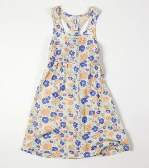 Surf O'Neill Girls Sunflower Dress.  60% Cotton / 40% Polyester.  Printed with art; empire seam; racer back detail with self loop; full skirt; logo embroidery. - $14.99
