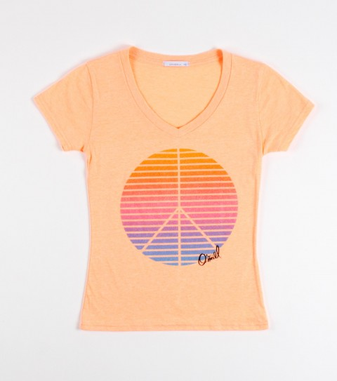 Surf O'Neill Girls Sunrise is a 60% cotton and 40% polyester; heathered; v-neck tee with sugar glitter. - $14.99