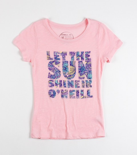 Surf O'Neill girls Sunshine is a 100% cotton vintage slub crew tee. - $20.00