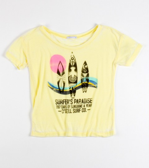 Surf O'Neill girls Hot Summer Nights is a 50% cotton and 50% polyester burnout washed tee. - $26.00