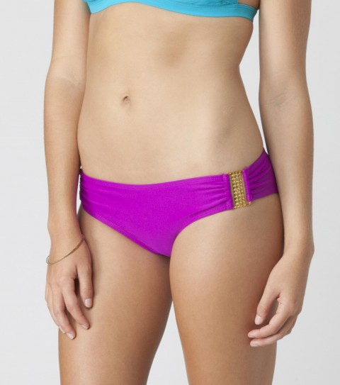 Surf O'Neill Mirage Ring Side Bottoms.  Pick any top and mix it with this gold trimmed bottom for a fun look.  82% Nylon 18% Elastane. Solid medium coverage bottom with shirring at the center back; heat resistant metallic gold hardware; metallic lining and gold metallic logo embroidery. - $9.99