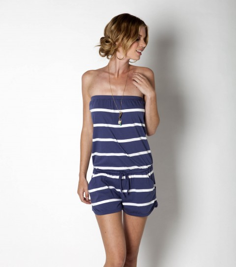 Surf Rompers are a girl's best friend!  With the ease of a dress ''just throwing on'' and the comfort of the bottom being shorts... there's no going wrong with a jumper-romper-one-piece -- whatever you want to call it!  The O'Neill Benedict Romper is 100% cotton; has 2 1/2'' inseam printed stripe with a drop waist drawstring and slash pockets. - $36.00