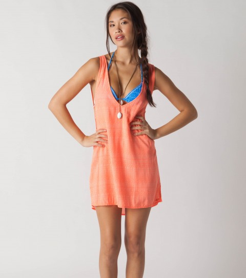 "Surf O'Neill Gem coverup dress with 100% viscose gauze; 30"" HSP printed cover-up with open side detail and braiding. - $32.99"
