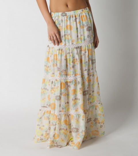 Surf O'Neill Ginger Skirt. 100% Viscose printed.  Encased elastic at waist; crochet pieced at each tier. - $44.99