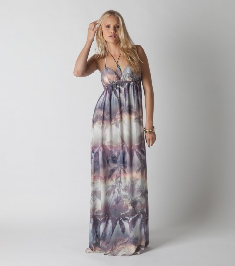"Surf O'Neill dress with 100% Viscose Printed; 46 1/2"" CF Length; molded cups; encased elastic at empire; halter tie with metal trim; Metal logo badge. - $48.99"