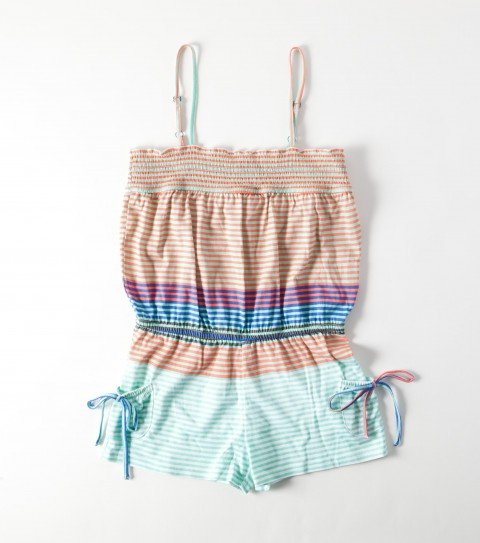 Surf The O'Neill Girls Josie Romper is 100% cotton french terry; has a 2'' Inseam; smocking along top opening with contrast thread novetly stithcing; patch pockets with drawstring details; encased elastic dropped waist. - $24.99
