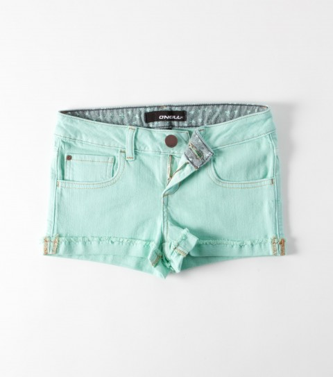 Surf The O'Neill Girls Solar Shorts are 92% cotton/ 2% elastane stretch denim; 1 1/2'' Inseam; raw edge cuff; five pocket styling; metal logo cf button; rivet details; novelty back pocket stitching; printed inner wb; logo embroidery. - $39.50