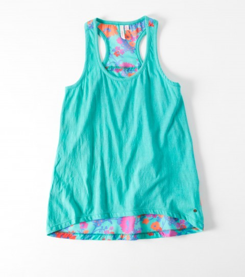 Surf The O'Neill Girls Frankie Tank is 100% viscose printed/ 100% cotton jersey; knit front panel; woven back panel; seam details; back exnteded hemline; metal logo badge. - $21.99