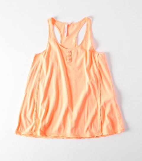 Surf The O'Neill Girls Penny Tank is 100% potassium washed neon jersey;  non functional front button placket; side insets; raceback; raw edge detailing; loose fitting; logo emb. - $20.99