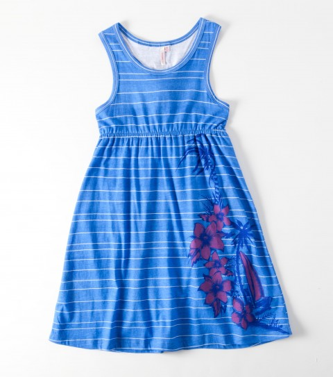 Surf The O'Neill Girls Sunflower Dress is a 60% cotton/ 40% poly printed blend; 28'' length; encased elastic at true waist; back self loop around racerback; logo embroidery. - $29.50