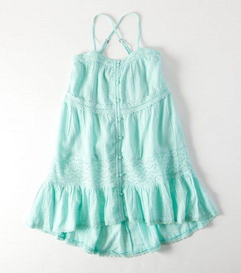 Surf O'Neill Girls Parade Dress.  100% Textured cotton woven.  Fully lined; non functional front placket with self covered shank buttons; crochet inset along bottom opening; shoulder straps with strap adjusters; crochet trim detail; metal logo. - $38.00