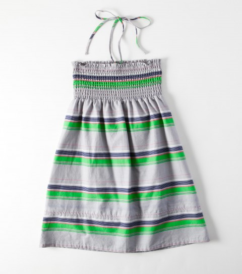 Surf The O'Neill Girls Casey Dress is 100% cotton woven printed/ yarn dye stripe; 25'' Length; fully smocked front and back bodice; halter tie; inset along bottom; logo embroidery. - $18.99