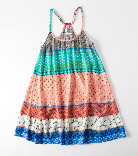 Surf The O'Neill Girls Ella Dress is 100% polyester printed; has side insets; very full sweep; slight ruching at front neck; skinny straps; metal logo badge. - $18.99