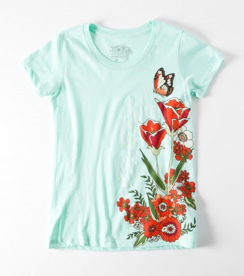 Surf The O'Neill Girls Tropic Dream Tee is made of 100% cotton jersey; girls best tee with sugar glitter. - $20.00
