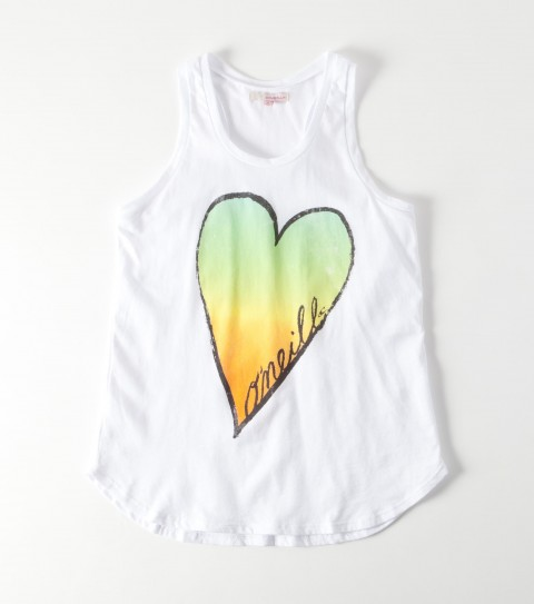 Surf The O'Neill Girls Heart Breaker Tank is made from 100% cotton jersey; racerback tank with opalescence. - $11.99