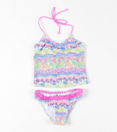 Surf O'Neill Girls Heat Wave Tankini.  Tankini ties at back of neck with a ruffle bottom. - $20.99