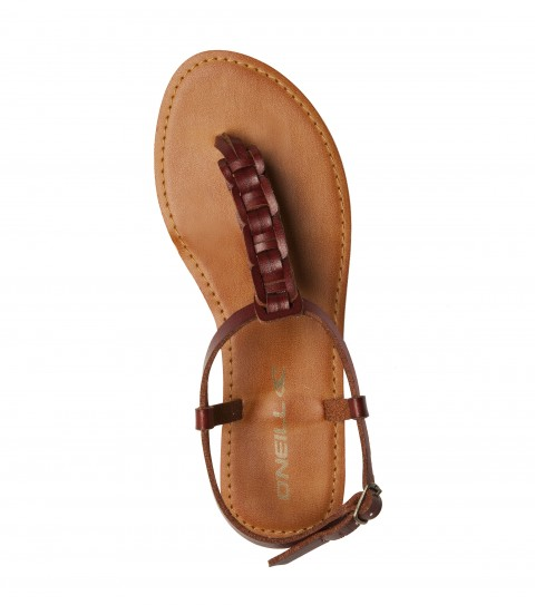 Entertainment The O'Neill Shawnee sandals are made of faux leather with novelty braided t-strap; ankle strap with buckle closure; faux leather sock; and sandal bottom outsole. - $34.00