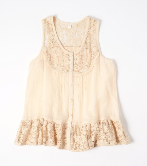 Surf O'Neill Girls Briar Top.  100% Cotton gauze.  Lace inset at yoke; lace at bottom ruffle; functional placket. - $19.99
