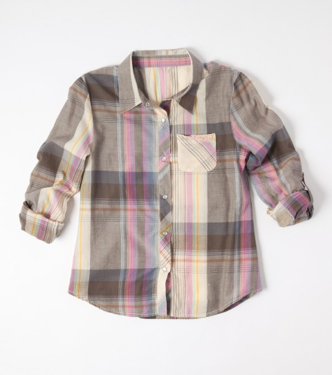 Surf The O'Neill girls Dove top is made of 100% cotton printed chambray or yarn-dyed plaid; smocking across back; western yoke; chest pocket; pearlized snaps at front placket; convertible sleeve; saddle cut hem. - $21.99