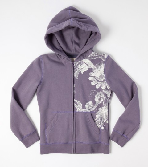 Surf O'Neill Girls Azalea Hoodie.  80% Cotton / 20% Poly fleece.  Jersey hood lining; zip front; screened art with glitter. - $20.99