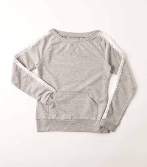 Surf The O'Neill girls Clara sweater is made of 100% cotton French terry; raglan sleeves with lace inset; and kangaroo pouch pocket. - $38.00