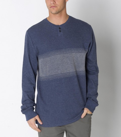 Surf O'Neill Mostachos Thermal is made from 100% cotton heathered waffle knit; engineered stripe thermal with heavy enzyme/silicone softener wash. Standard fit; button placket; with logo labels. - $32.99