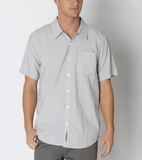 Surf O'Neill Parker Shirt is made from a 55%cotton/45%polyester blend.  It is a striped; short sleeved shirt with mill finish and bio wash. Standard fit; with logo embroideries and labels. - $29.99