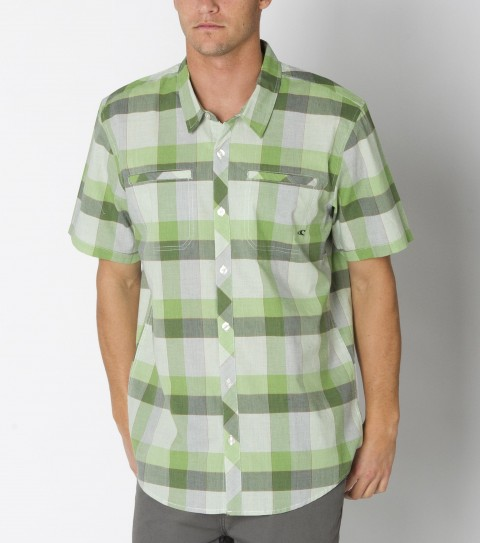 Surf O'Neill Conroy Shirt is made from 100% cotton plaid chambray; short sleeve shirt with mill finish and bio wash. Standard fit; decorative chest pocket; with logo embroideries and labels. - $36.99