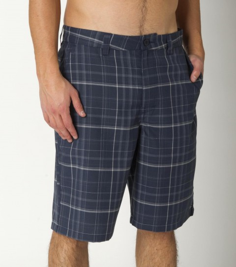 Surf O'Neill Triumph 3 Shorts consists of a 65%polyester/35%viscose plaid blend.  Heavy enzyme/silicone wash. Standard fit; Contrast fabric inner waistband; with logo embroideries. - $33.99