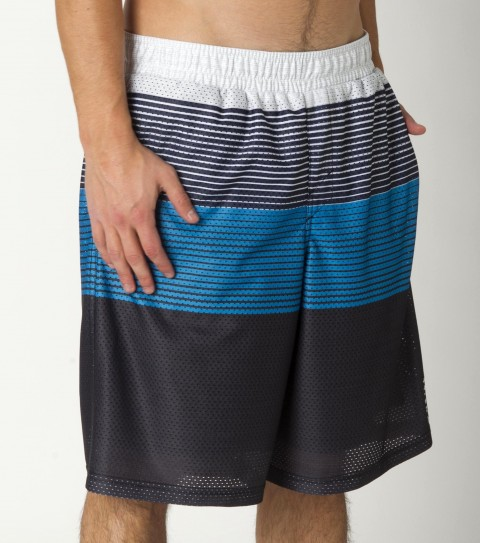 Surf O'Neill Exposure Mesh Short is made from 100% polyester sublimated stripe mesh.  Standard fit; elastic waist; on-seam hand pockets; logo embroideries and labels. - $28.99