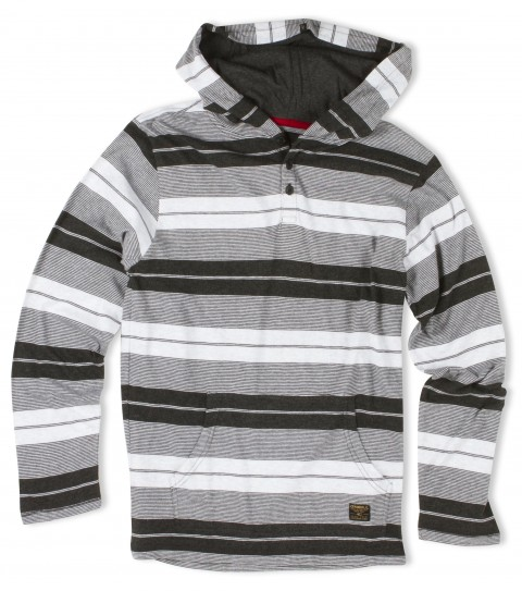 Surf O'Neill Boys pullover hoodie. 100% cotton stripe hooded pullover with heavy enzyme/silicone softener wash. Standard fit; kangaroo pocket; button placket with logo labels. - $33.99