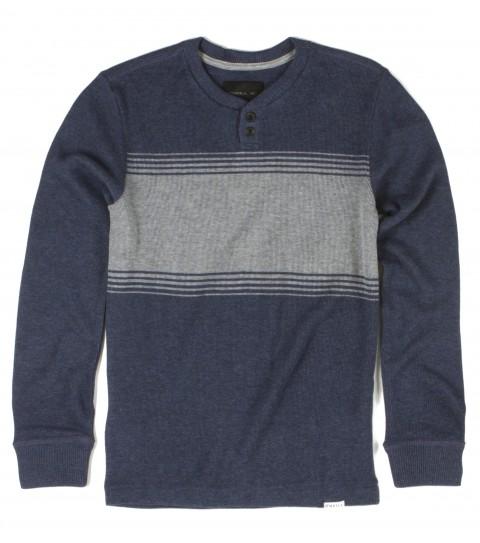 Surf O'Neill boys thermal shirt with 100% cotton 220gsm heathered waffle knit y/d engineered stripe thermal with heavy enzyme/silicone softener wash. Standard fit; button placket; with logo - $27.99