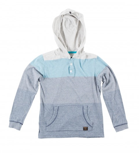 Surf O'Neill Boys Masher Pullover Hoodie.  100% Cotton.  Jersey heather yarn dye stripe hooded pullover with heavy enzyme / silicone softener wash.  Standard fit; kangaroo pocket; button placket with logo labels. - $29.99