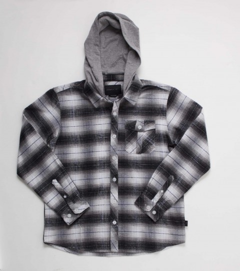 Surf O'Neill boys hooded flannel 100% cotton y/d plaid l/s flannel with jersey hood mill finish and bio wash. Standard fit; with logo embroideries and labels. - $36.99