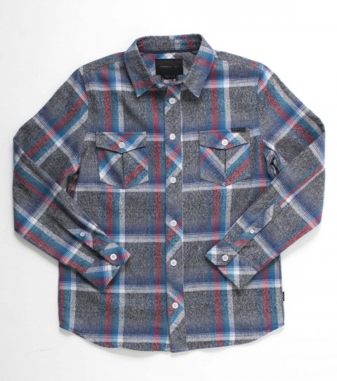 Surf O'Neill boys flannel 100% cotton y/d plaid l/s flannel with mill finish and bio wash. Standard fit; with logo embroideries and labels. - $35.99