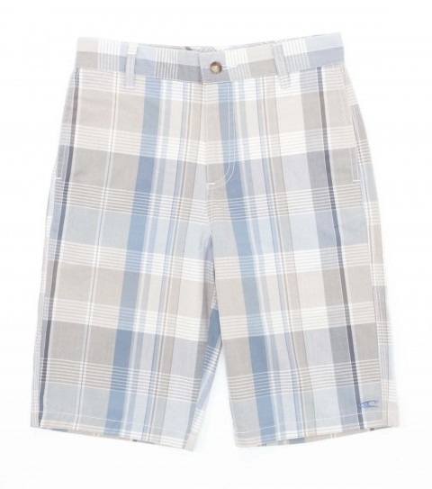 Surf O'Neill boys shorts 100% cotton y/d plaid with heavy enzyme/silicone softener wash. Standard fit; decorative back pockets; logo embroideries and labels. - $36.99