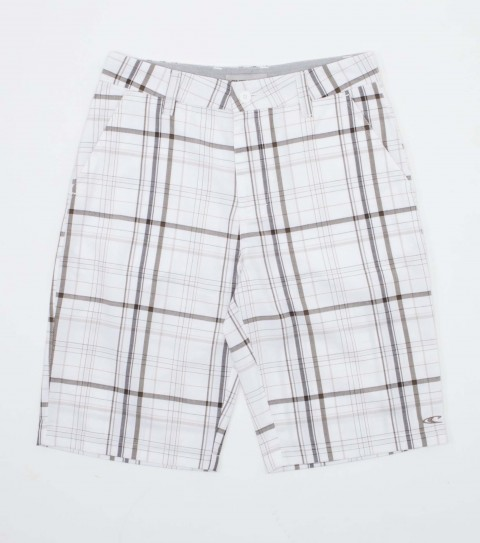 Surf O'Neill Boys shorts 65% polyester / 35% viscose yarn dye plaid walkshort with heavy enzyme/silicone wash. Standard fit; Contrast fabric inner waistband; welt back pockets with logo embroideries. - $34.99