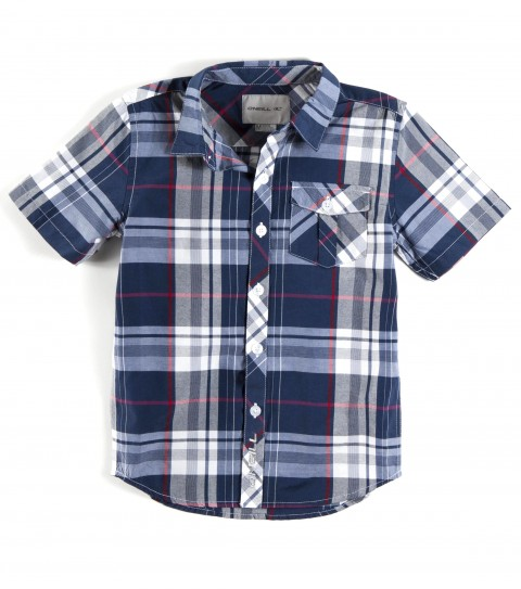 Surf The O'Neill Kids Levine short sleeved shirt is made of 55% cotton and 45% polyester plaid with mill finish and bio wash. Standard fit; with logo embroideries and label. - $36.00